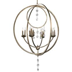 Emilia Elegant 16 Light Antique Silver Leaf Crystal Pendant Chandelier