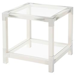 Theodore Alexander Cutting Edge Longhorn White Faux Horn Square Side End Table