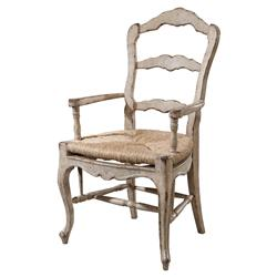 Delphine French Country Rustic White Painted Ladder Back Dining Arm Chair