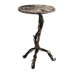 Rustic Lodge Cabin Woven Birch Wood Iron End Side Table