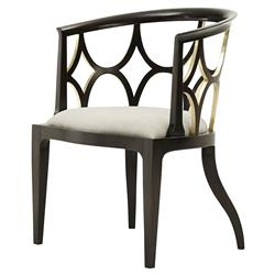 Ebonized Connaught Modern Classic Gilt Detail Mahogany Oatmeal Linen Chair