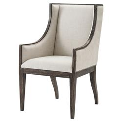 Theodore Alexander Englewood Cream Hide Oatmeal Linen Wingback Dining Armchair