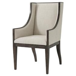 Theodore Alexander Englewood Oatmeal Linen Wingback Dining Armchair