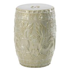 Shanghai Antique Ivory Pale Sage Frost Ceramic Garden Seat Stool | Kathy Kuo Home