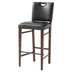 The Officer's Mess Industrial Pierced Handle Vintage Nailhead Leather Bar Stool