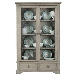 Michaela French Country Quartered White Oak 2 Drawer Display Cabinet