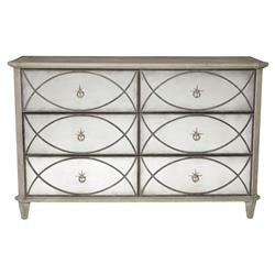 Michaela French Country White Oak Inlaid Walnut Veneer 6 Drawer Dresser
