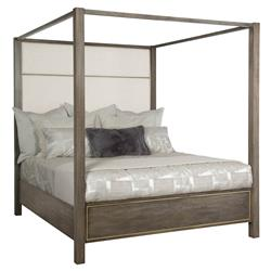 Portia Hollywood Regency Taupe Walnut Gold Trim Upholstered Paneled Bed - King
