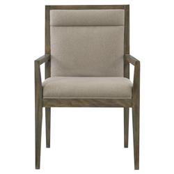 Portia Hollywood Regency Wood Frame Taupe Upholstered Dining Arm Chair