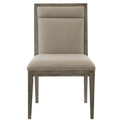 Portia Hollywood Regency Wood Frame Taupe Upholstered Dining Side Chair