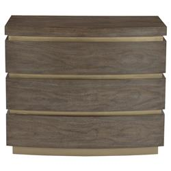 Portia Hollywood Regency Walnut Veneer Plinth Base 3 Drawer Dresser