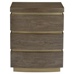 Portia Hollywood Regency Walnut Veneer Plinth Base 3 Drawer Nightstand