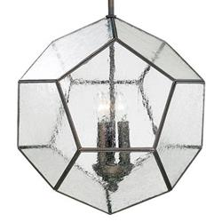 Antique Bronze Modern Seeded Glass Pentagon Pendant Light Fixture