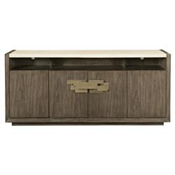 Portia Hollywood Regency Walnut Travertine Stone Top 4 Door Sideboard