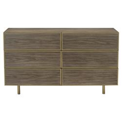 Portia Hollywood Regency Walnut Gold Trim 6 Drawer Dresser