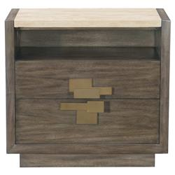 Portia Hollywood Regency Travertine Stone Top Plinth Base 2 Drawer Nightstand