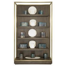 Portia Hollywood Regency Walnut Gold Trim 4 Shelved Etagere Display Bookcase