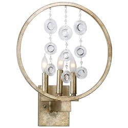 Emilia Antique Gold Leaf Circle Elegant 3 Light Crystal Wall Sconce