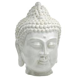 Large Antique White Ceramic Buddha Head | CYAN-02881