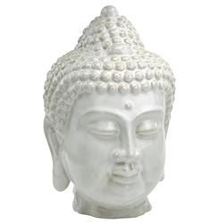 Large Antique White Ceramic Buddha Head