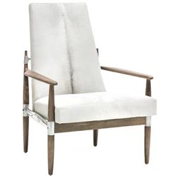 Oly Studio  Scout Hardwood White Natural Hide Occasional Arm Chair