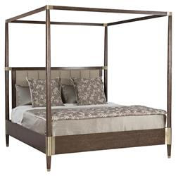 Clarke Modern Classic Dark Wood Metal Accent Upholstered Bed - King