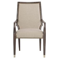 Clarke Modern Classic Wooden Beige Upholstered Nailhead Trim Dining Arm Chair