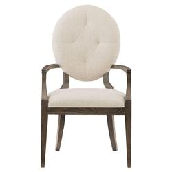 Clarke Mid Century Oval Back Ivory Upholstered Dining Arm Chair