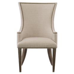 Clarke Modern Classic Beige Upholstered Nailhead Trim Dining Arm Chair