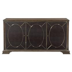 Clarke Modern Classic Dark Wood Leather 3 Push To Open Door Sideboard