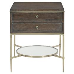 Clarke Modern Classic Burnished Brass Dark Wood 2 Drawer Nightstand