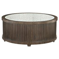 Clarke Modern Classic Dark Wood Mirrored Top Round Coffee Table