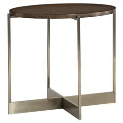 Clarke Modern Classic Burnished Brass X Shape Oval Side End Table