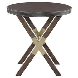 Clarke Modern Classic Burnished Brass Wooden Round Side End Table