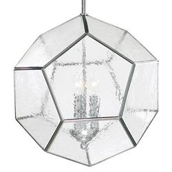 Polished Silver Modern Seeded Glass Pentagon Pendant Light Fixture