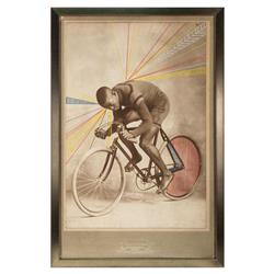 The Cyclist Industrial Loft Framed Sepia Print Color Graphic Overlay
