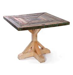 "Reclaimed Painted Rustic Wood Square Dining Table 38""D 
