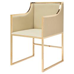 Anastasia Hollywood Regency Gold Beige Dining Occasional Arm Chair
