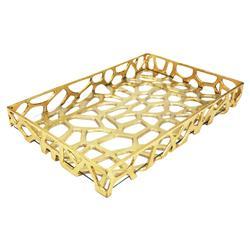 Evans Modern Regency Gold Glass Decorative Tray