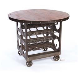 Industrial Reclaimed Wood Wine Cellar Counter Height Table | GO-12349