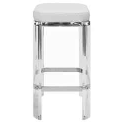 Lorre Modern Regency White Ostrich Cushioned Acrylic Silver Counter Stool