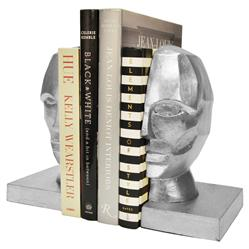 Orwell Modern Regency Silver Profile Bust Bookends