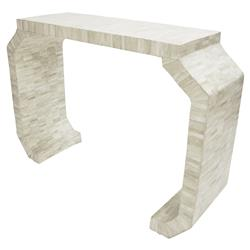 Cabbot Modern Classic Natural Bone Faceted Console Table
