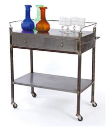 Industrial Vintage Steel Trolley Bar Cart