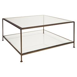 Cabot Hollywood Regency Bronze Glass Coffee Table