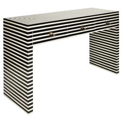 Newburgh Modern Classic Black and White Striped 3 Drawer Resin Console Table