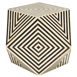 Orna Modern Classic Brown and White Geometric Bone Side Table