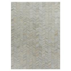 Exquisite Rugs Natural Hide Modern Classic Curved Chevron Pattern Beige Grey Rug - 5' x 8'