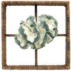 Palecek Broach Coastal Beach Hand Woven Abaca Coral Shadowbox