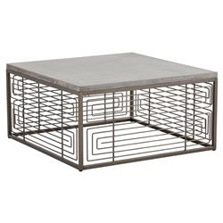 Davison Industrial Concrete Antique Bronze Square Cage Coffee Table